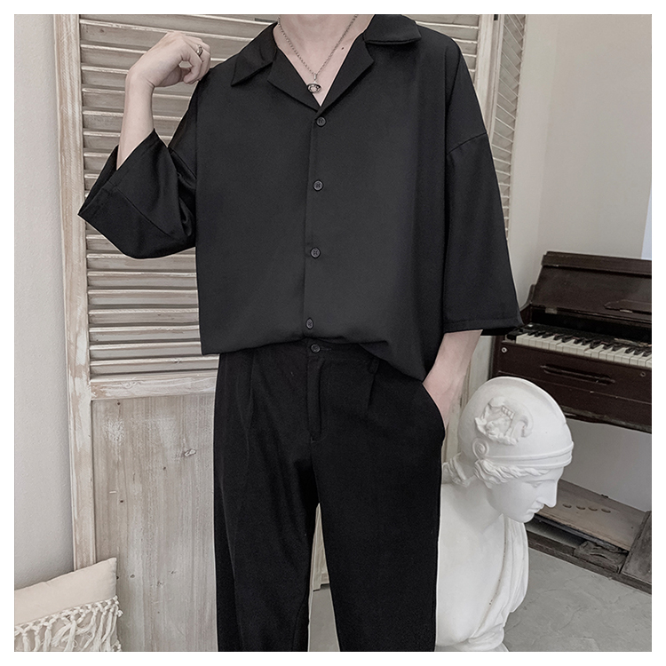夏季七分袖宽松韩版西装领纯色衬衣XZ518-2-CY01-P35控价49