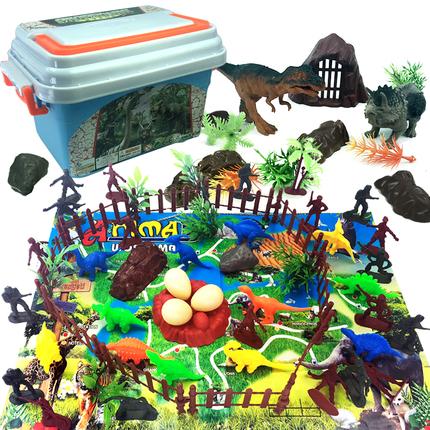 兒童恐龍玩具仿真野生小動物園套裝塑膠軟膠霸王龍三角龍模型男孩