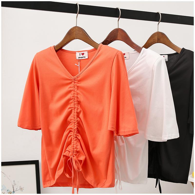 包邮夏季新款韩版百搭V领五分袖肩垫恤衫t短袖上衣女150332#XK