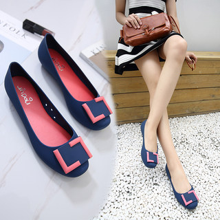 Summer Baotou square buckle flat waterproof rain boots shallow mouth rubber women sandals travel beach non-slip flat heel jelly shoes
