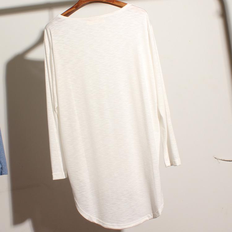 韩版纯色百搭中长款宽松显瘦竹节棉套头长袖T恤女打底衫 -棉