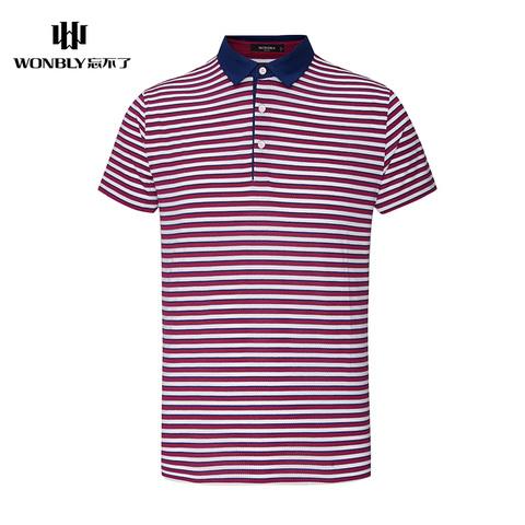 忘不了男装夏季新款T恤男士运动翻领条纹商务休闲薄款短袖T恤男
