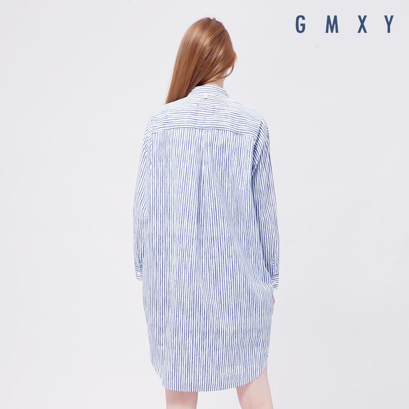 Gỗ cổ buổi tối cừu GMXY2017 mùa thu của phụ nữ new sọc in áo đầm L565620