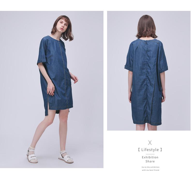 Cổ Muxi cừu GMXY2018 mùa hè của phụ nữ new 茧 vòng cổ chia denim váy cotton váy