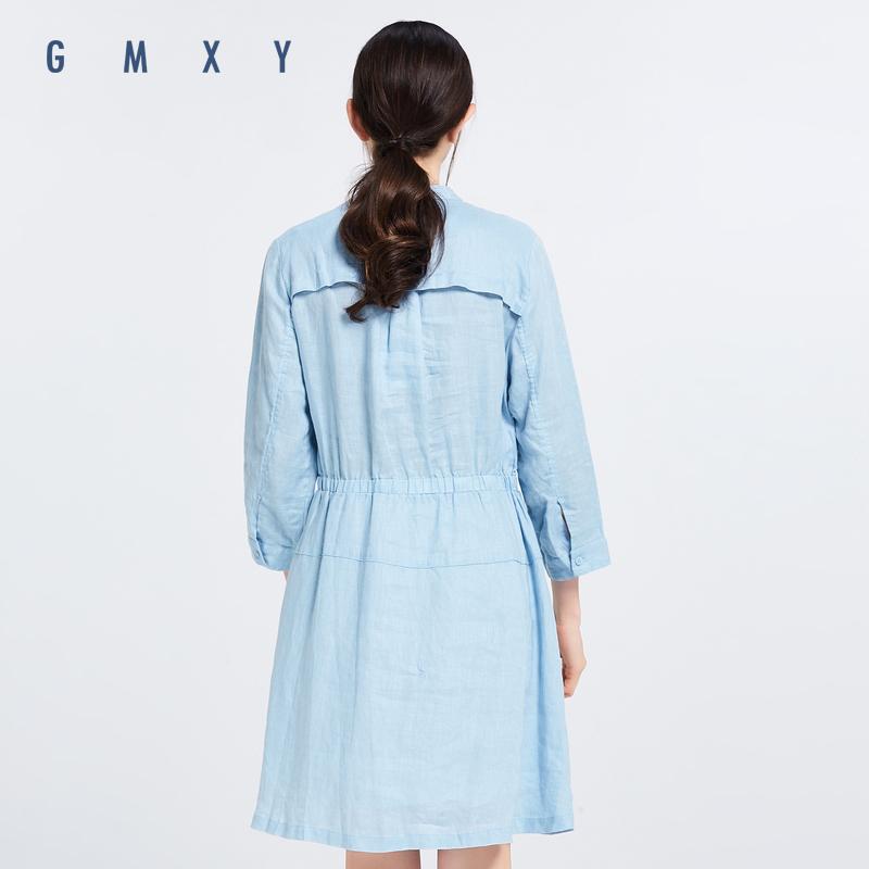 Gỗ cổ buổi tối cừu GMXY2018 mùa xuân của phụ nữ new v-cổ linen dress G571909