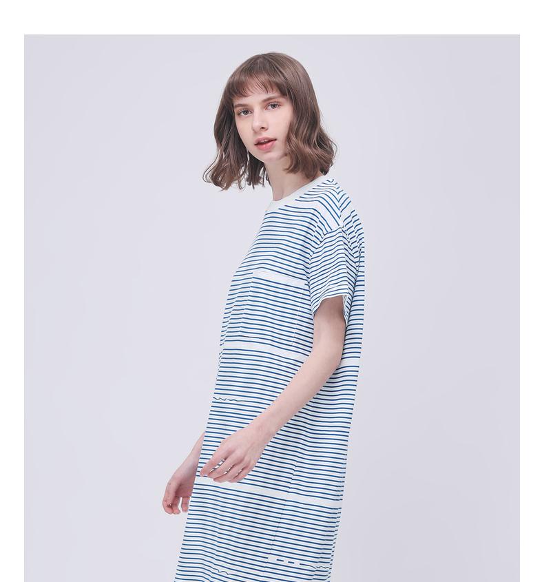 Gỗ cổ buổi tối cừu GMXY2018 mùa hè của phụ nữ mới dệt kim sọc ngắn tay đầm nữ bông váy mới đầm trắng đẹp