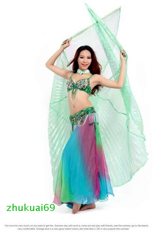 Color Gradient Transparent Shiny Egyptian Belly Dance Costume Angel Isis