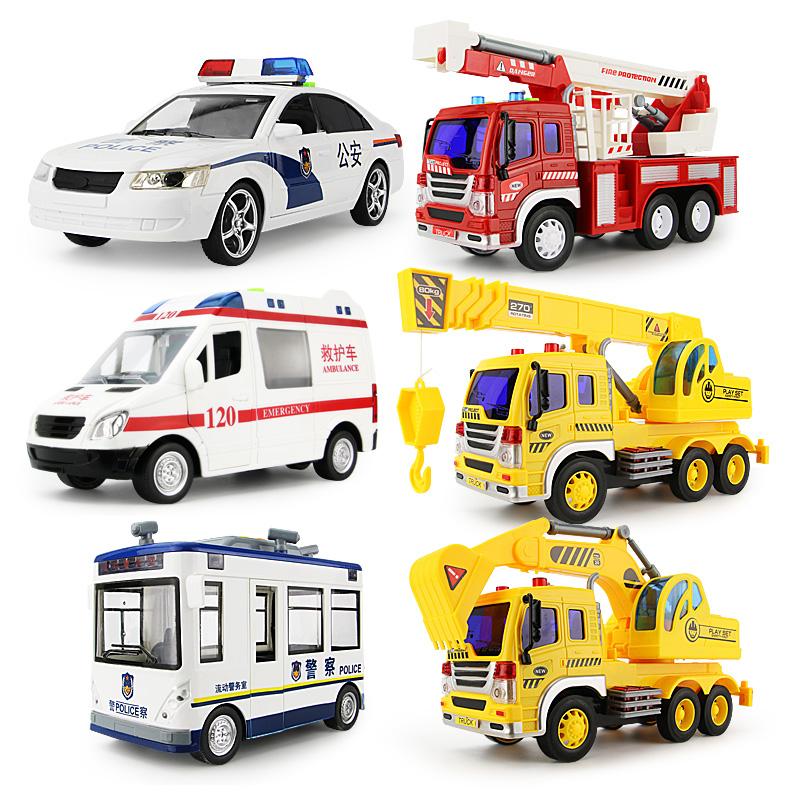 大号音乐警车救护车消防车洒水车惯性工程车儿童玩具男孩汽车模型