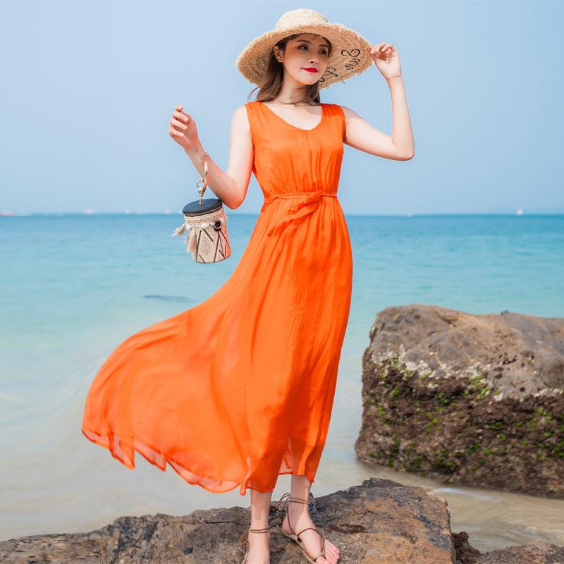 芭碧尔品牌正品夏飘逸时尚纯色V领无袖桑蚕丝真丝连衣裙沙滩长裙