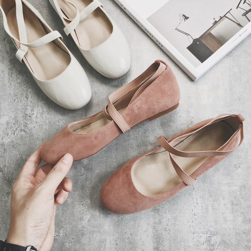 726fe2c523aa D and single shoes female autumn Korean retro ballet shoes cross with flat  round head scoop shoes 2018 New