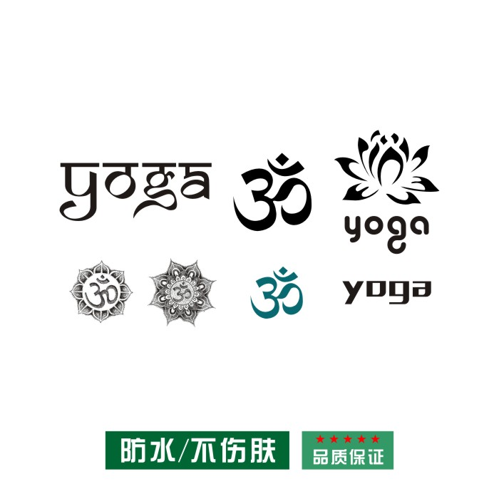 Little daughter xixi OM Yoga tattoo stickers YOGA English text black and White Lotus Lotus seven chakra sweat