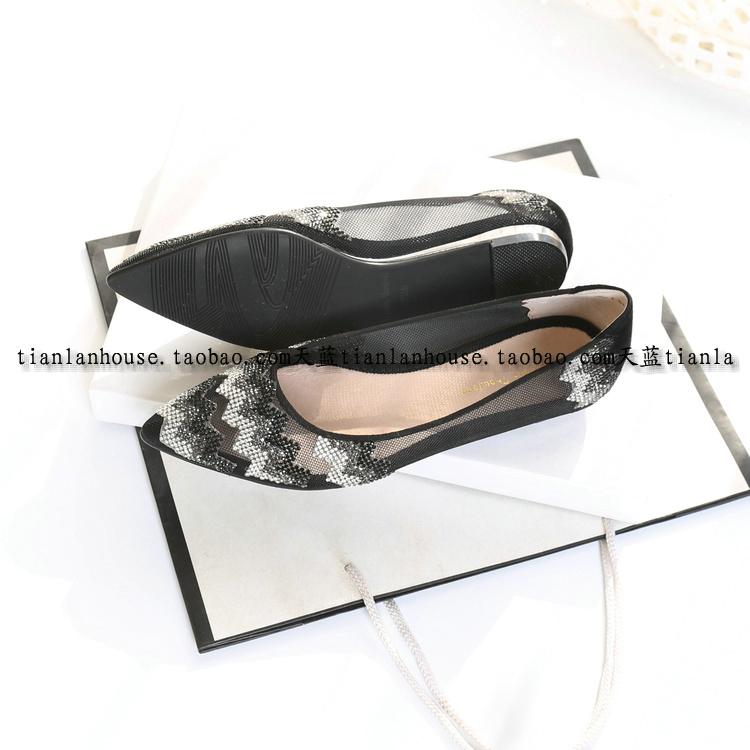 欧美春夏季新款水钻尖头透气低跟平跟平底凉鞋女罗马鞋仙女风详细照片