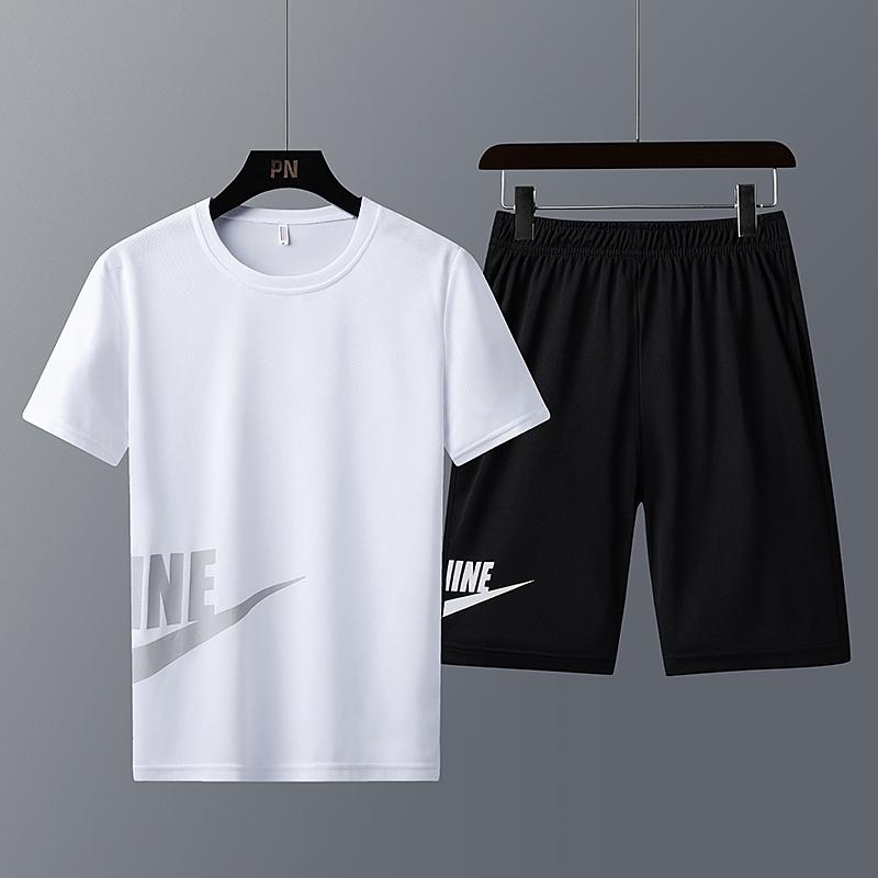 夏季休闲运动套装男潮流宽松短裤短袖t恤冰丝健身衣跑步球服一套