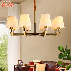 美式吊灯全铜灯客厅灯具简约现代卧室简欧餐厅灯乡村家用复古灯饰