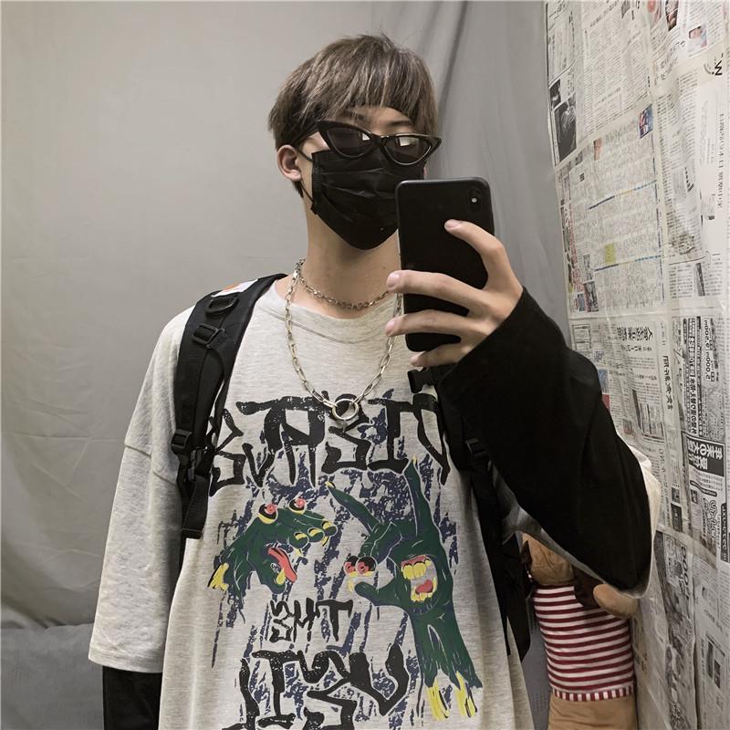 潮流韩版宽松假两件长袖t恤秋季上衣衣服圆领套头卫衣薄款635P35