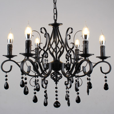 European wrought iron crystal chandelier wrought candle living room chandelier clothing store personality black lamp retro chandelier