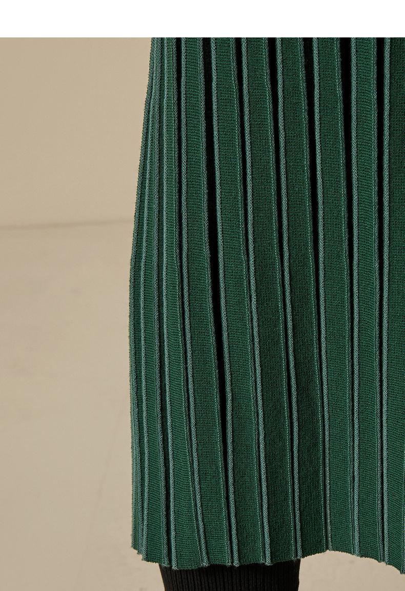 何穗同款2018秋装时尚百褶裙摆 休闲平整下摆针织百褶裙半身裙 2