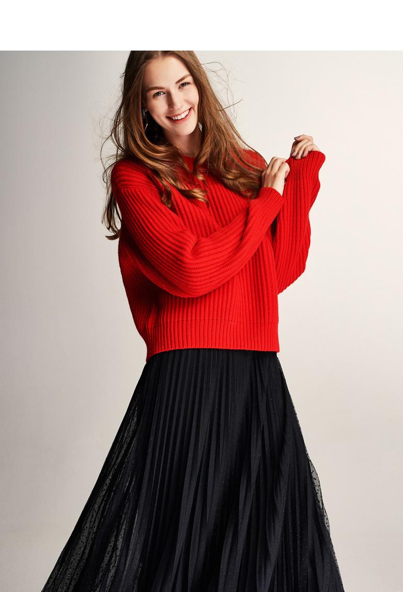 伊芙丽毛衣女2019新款春红色宽松长袖打底衫bf慵懒风长袖针织衫女 宽松落肩 窄坑条针织肌理 8