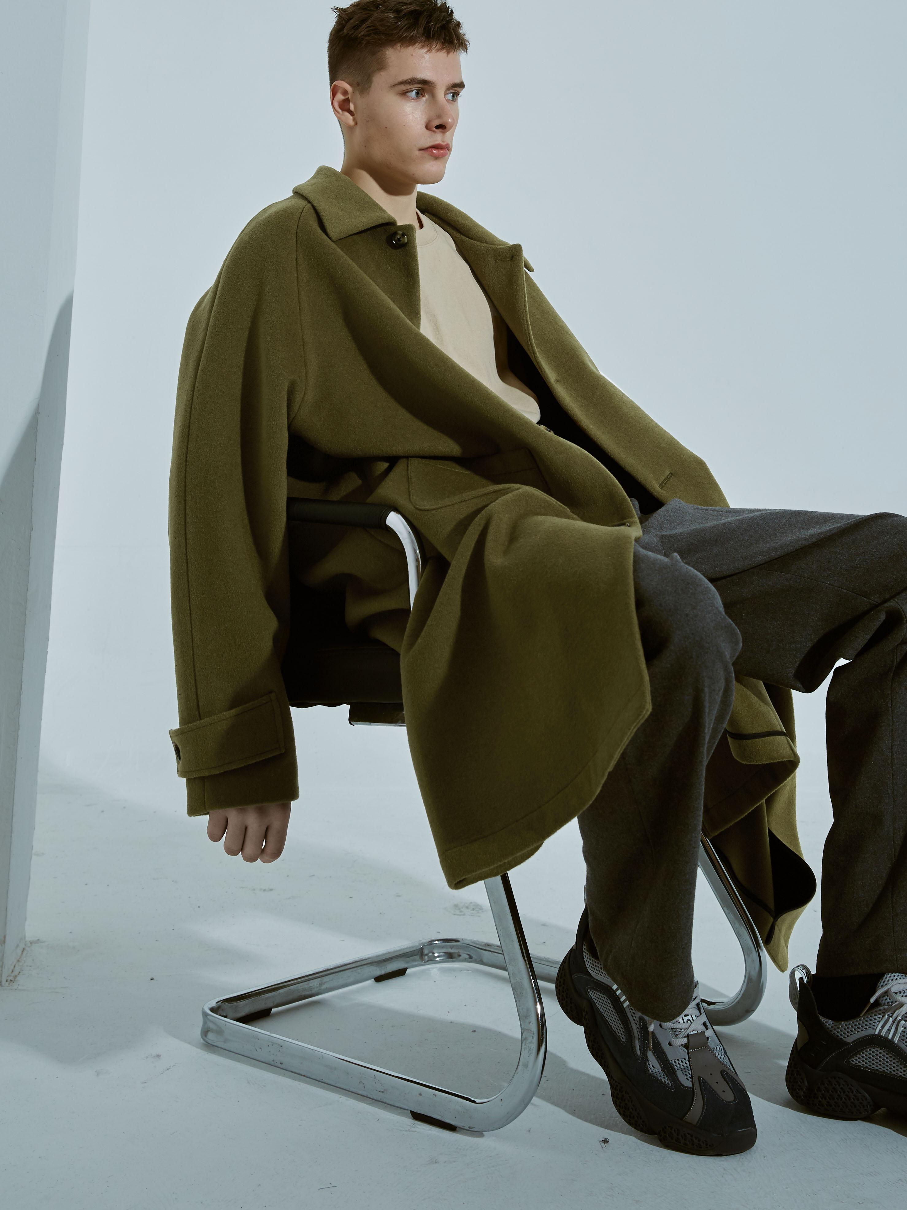 astaroth原创设计师枯草绿羊绒双面呢大衣男宽松中长羊毛欧美简约