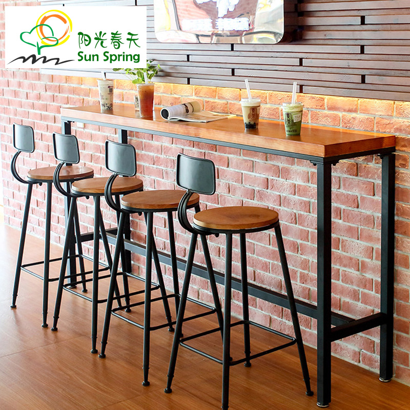 Wrought Iron Casual Cafe Bar Table Home Long Solid Wood Wall Window High Foot