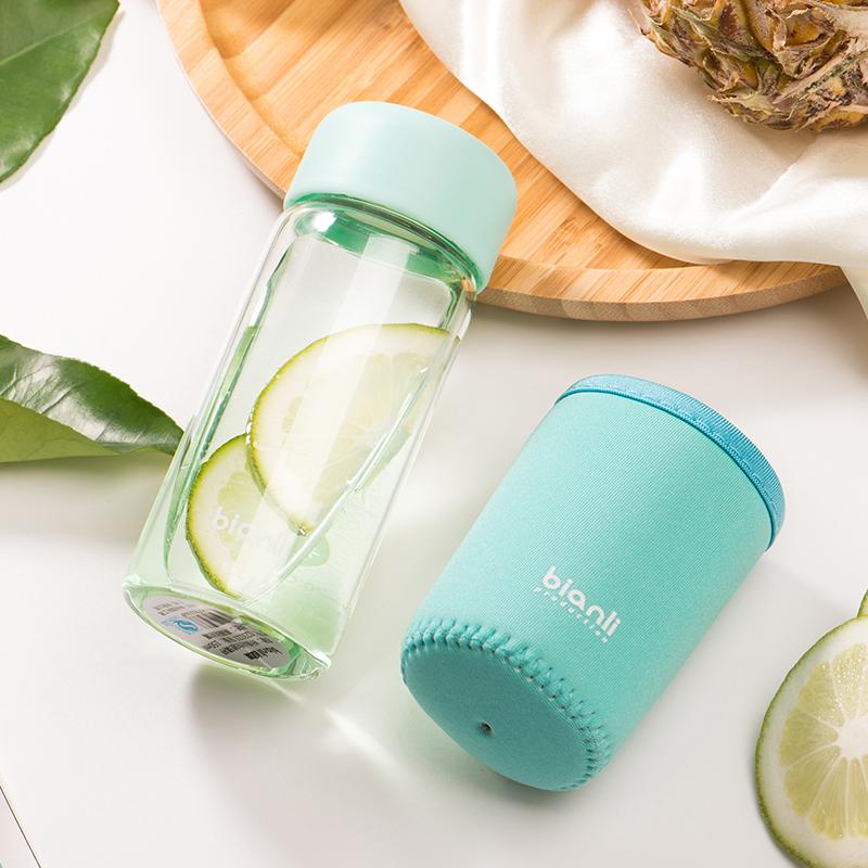 bianli倍乐迷你玻璃水杯女士小清新小容量便携式水杯子150/380ml