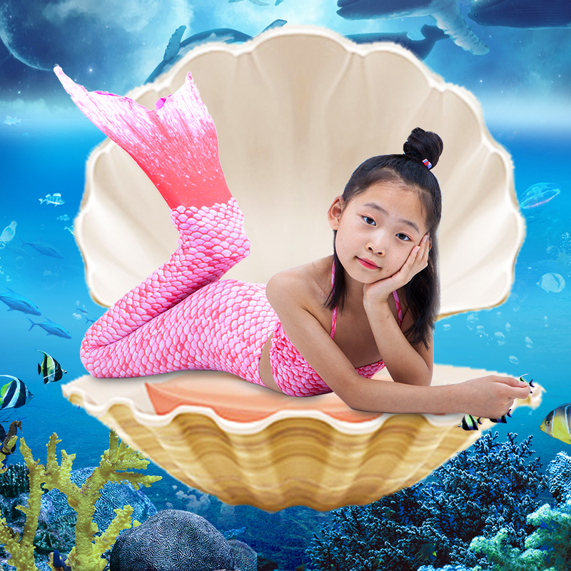 Mother & Kids Kids Girl Halloween Mermaid Tail Costume Child Princess Ariel Swimming Swimwear Bikini Soft Children Kid Girl Beach Dress Good Heat Preservation