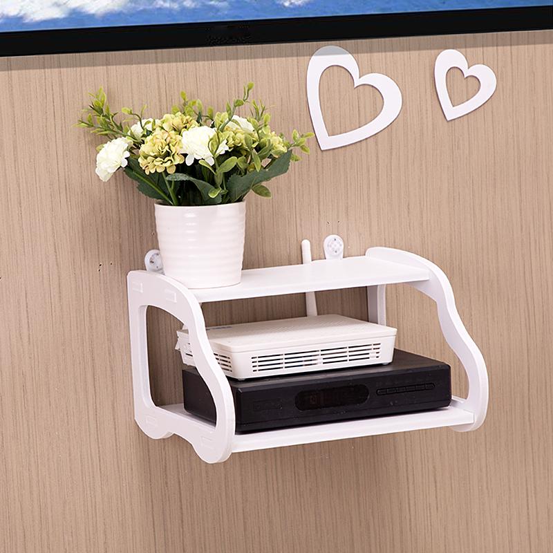 机顶盒置物架免打孔卧室客厅墙上电视墙放wifi路由器收纳盒壁挂架_淘宝优惠券