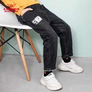 阿杰邦尼童装男童牛仔裤中大童长裤冬装2018新款儿童裤子
