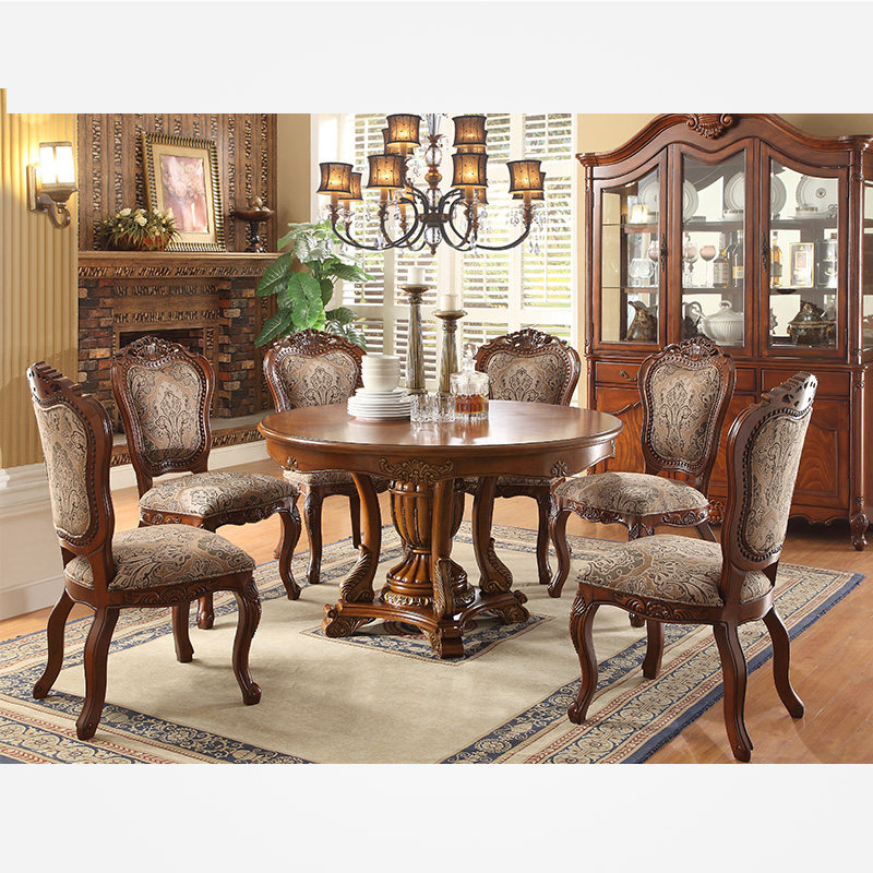 Ya Ju Ge American Solid Wood Dining Table European Dining Table And Chair  Combination Table Six Chairs Leather Dining Table F98202 Combination