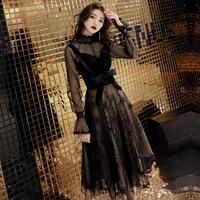 Юбка вечерняя юбка женская 2018 новая коллекция черный Вечернее платье, вечернее платье, вечеринка высокая Дорогое платье тонкое
