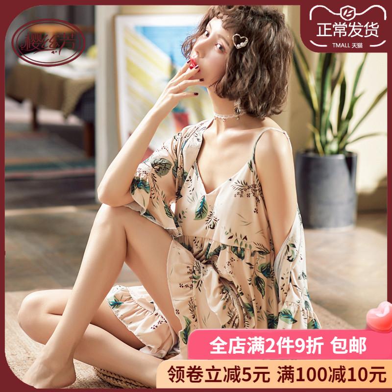 Phụ nữ mùa hè mỏng mảnh cotton ngắn tay ba mảnh phù hợp với gợi cảm đi kèm với miếng đệm ngực và dịch vụ nhà lỏng lẻo - Bên ngoài ăn mặc