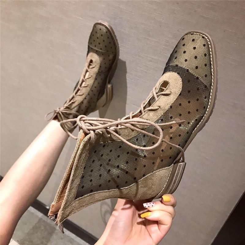 凉靴女2019夏季新款时尚方头低跟系带短靴网面透气马丁波点凉靴