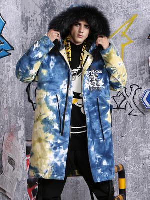GENANX闪电潮牌冬季新款嘻哈街头宽松扎染印花中长款连帽棉衣男潮