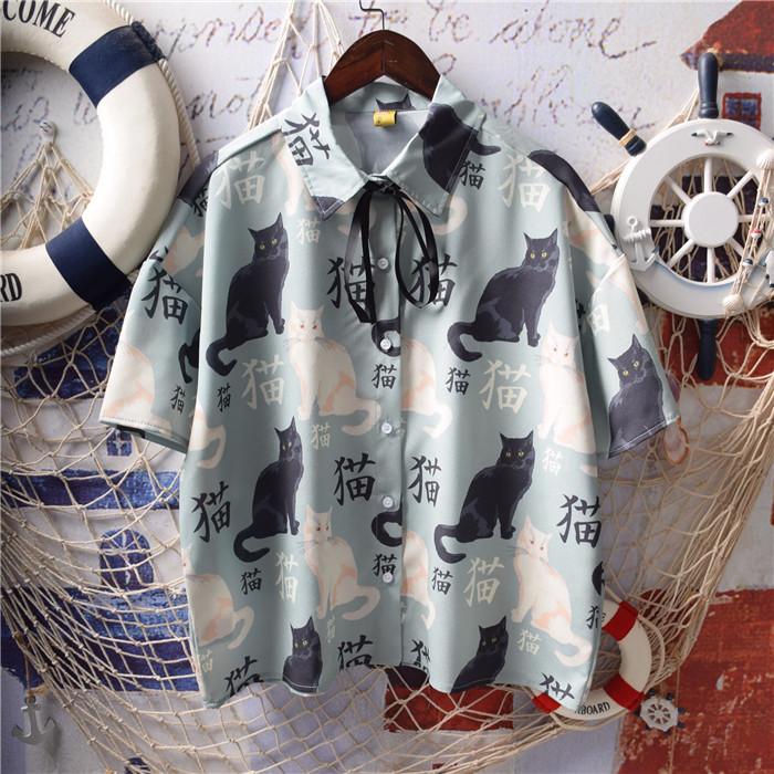 日系软妹短袖可爱数码印花雪纺涂鸦猫咪蝴蝶结衬衫系带上衣童趣女