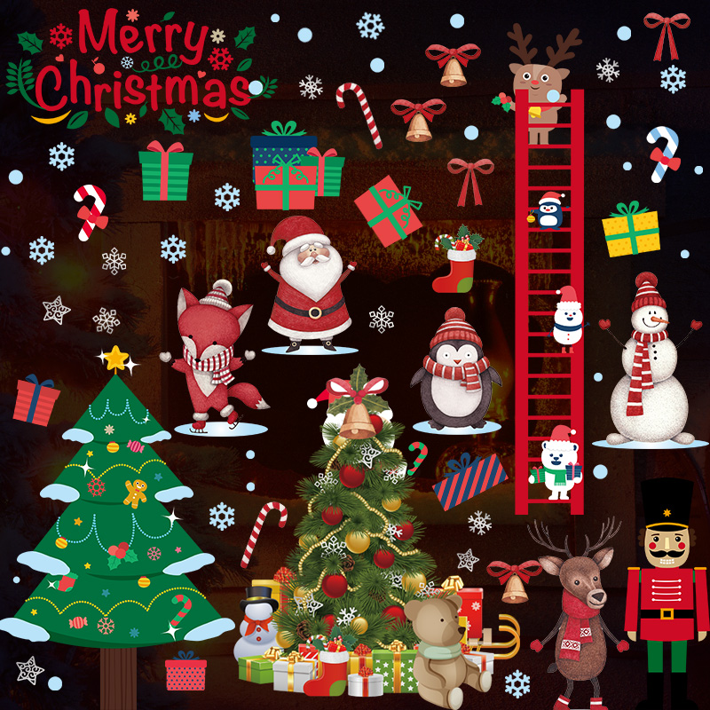 christmas wall stickers glass door stickers layout decorations new years day christmas tree wall stickers window - Window And Door Christmas Decorations
