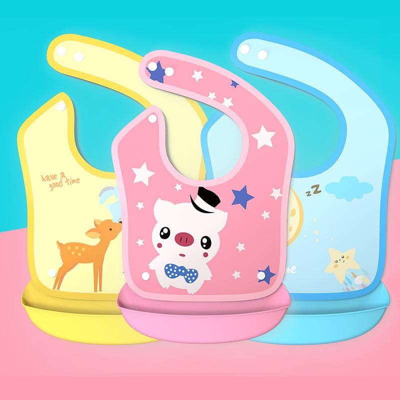 硅胶婴儿宝宝吃饭围兜饭兜防水儿童围嘴大号小孩口水兜免洗食饭兜7.9包邮