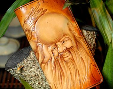 植鞣革 全手工雕刻 皮雕钱包 钱夹 财布 另类手包 南极仙翁 钱包