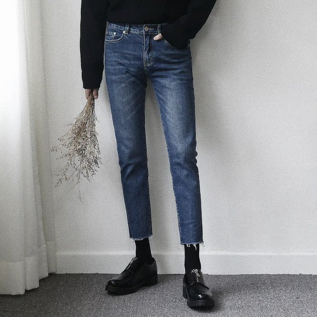 PF/ New style pencil jeans, trimmed nine minute trousers for men, blue slim-fit, narrow-legged, fur-trimmed trousers