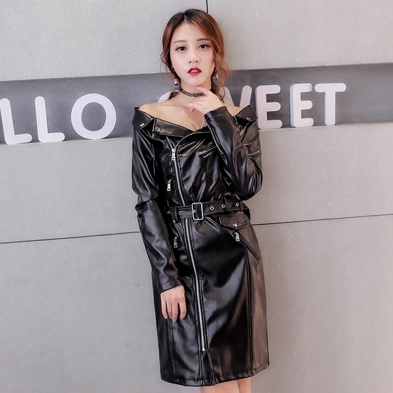 2019春季新款韩版皮衣连衣裙女修身收腰显瘦一字肩中长款机车外套