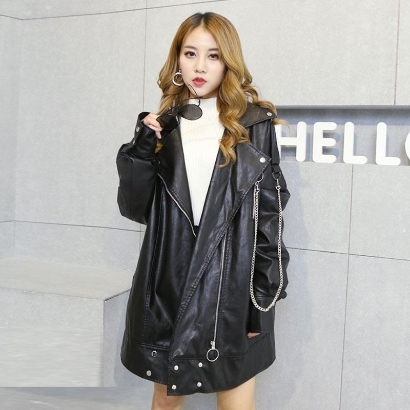 2019春季新款韩版宽松大码中长款夹克服显瘦女装机车皮衣外套同款