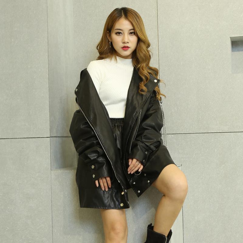 2019秋季新款韩版宽松大码中长款女装服显瘦外套皮衣BF风机车夹克