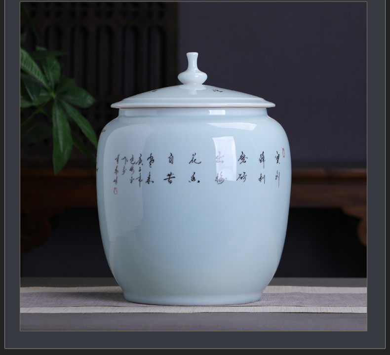 Hand - made ceramic name plum furnishing articles home decoration storage tank with cover Chinese tea pot large capacity home office