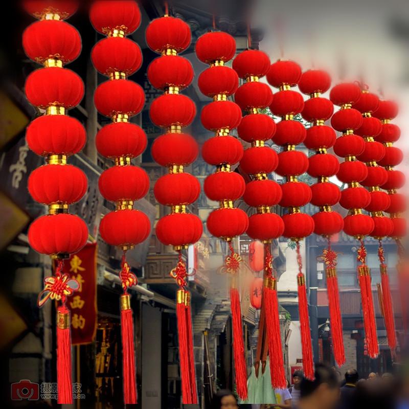 新年场景春节装饰用品过年灯笼挂件布置植绒小红灯笼串挂饰v场景