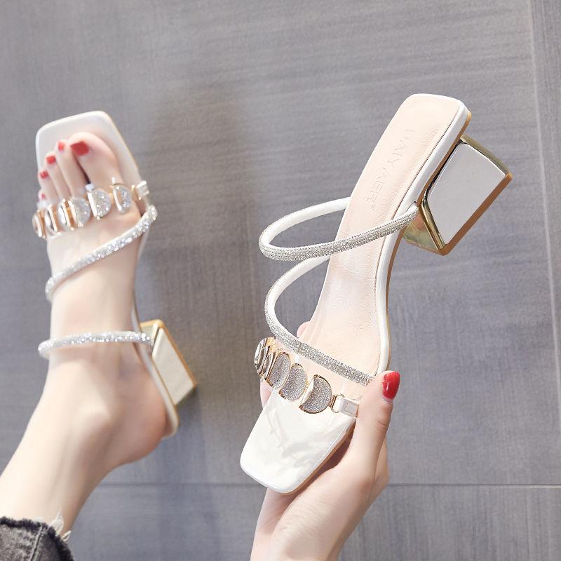 拖鞋女夏外穿2021新款水钻鞋子时尚粗跟