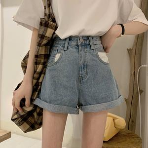 FS57641# 韩版高腰复古卷边百搭学生牛仔短裤A字裤 服装批发
