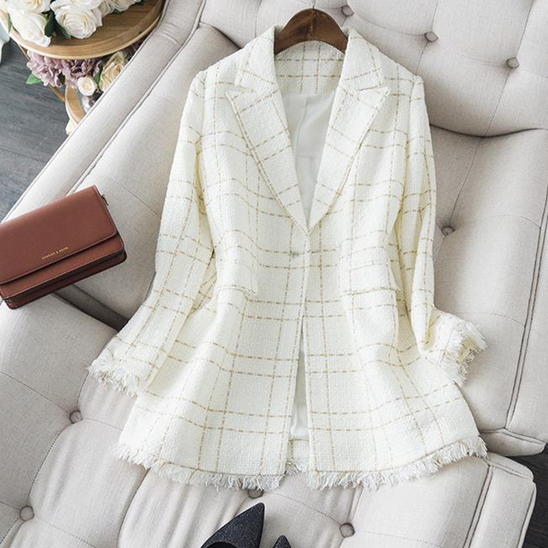 优雅OL小香风白金格子西装中长款 编织格纹毛须边外套女19秋新款
