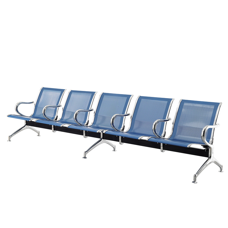 Row of chairs stainless steel airport chair bench three waiting for ...
