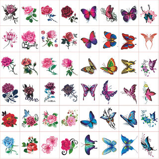 Tattooed waterproof female lasting rose butterfly net red personality small fresh thorn eye cover stickers