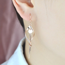 925 sterling silver plated rose gold tassel earrings with silver web celebrity long drop earrings