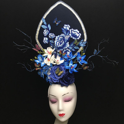 New Hands Make Blue Fashion Personality T-Stage Show Annual Meeting Photographic Photography, Adult Creative Modeling, Exaggerated Headwear
